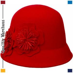 47fb9a4c0 NINE WEST Felt Cloche Wool Hat w/2 Flowers Accents NWT